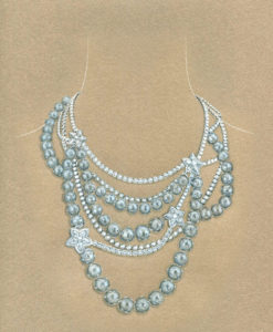 7-Diamonds & Pearls Necklace - For Yana Jewellery, Ice Collection - copie copie